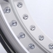 mecxtreme3 one piece wheel in Satin White with Stainless Steel Lip