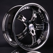 mecxtreme3 one piece wheel in Black Chrome with Stainless Steel Lip