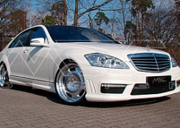 MEC Design W221 S450 with mecxtreme1 3 piece wheels in Polish finish